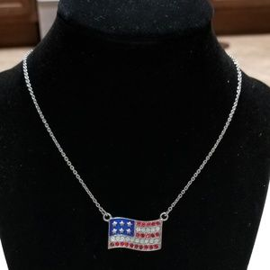 American Flag Adjustable Necklace Silver Tone